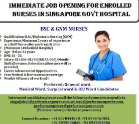 Immediate Opening For Nurses in Singapore, Dubai